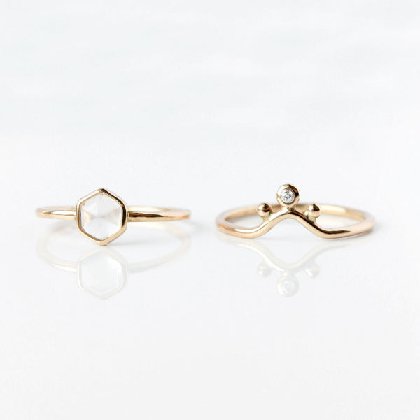 Hexagon White Moonstone & 14k Gold Ring - The Zia Ring