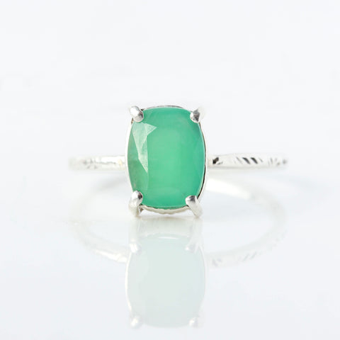 Wildflower Ring - Cushion cut Chrysoprase & sterling silver ring