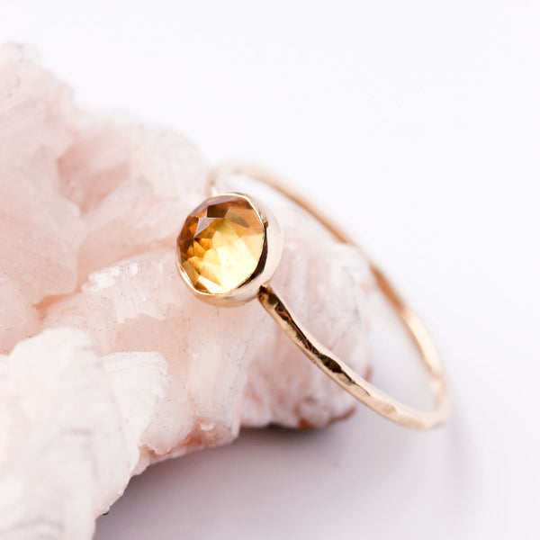 Rose Cut Citrine & 14k Gold Ring