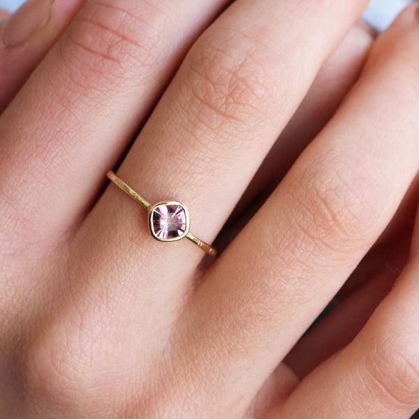 Cushion cut Spinel & 14k gold ring