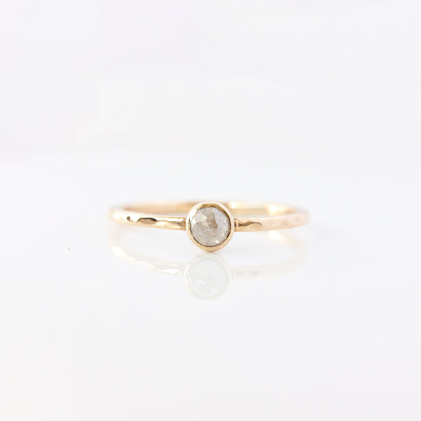 Rose cut coloured diamond & 14k gold ring