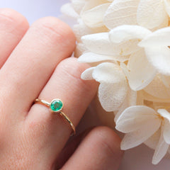 Emerald & 14k Gold Wildflower Ring