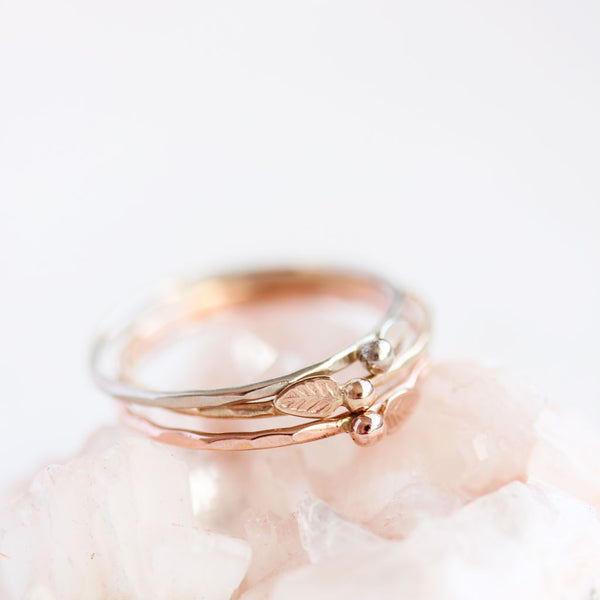 Evergreen Ring Set in 14k Rose, Yellow & White Gold