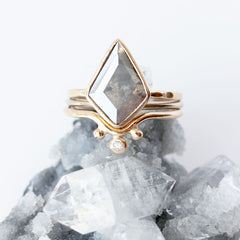 Geometric Grey Diamond & 14k Gold Ring