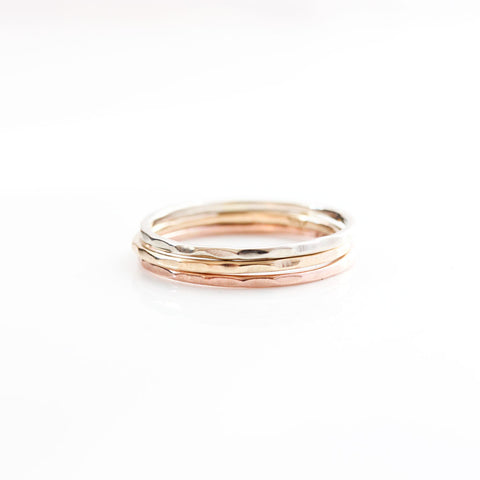14k Gold Fine Hammered Stacking Ring Set