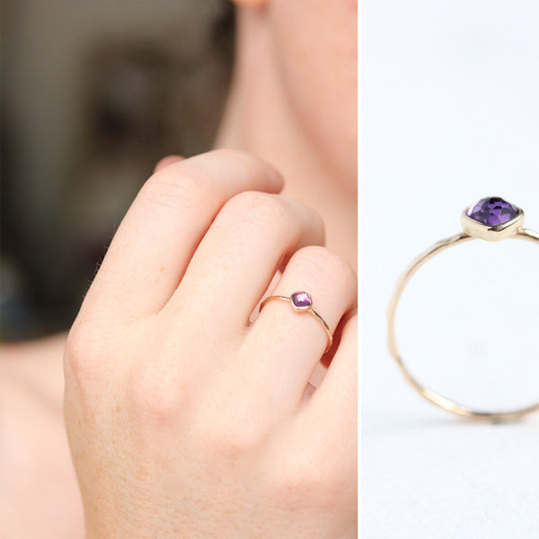 Rose cut amethyst & 14k gold stacking ring