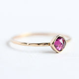 Rose cut rhodolite garnet & 14k gold stacking ring