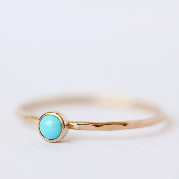 Turquoise & 14k yellow gold thin stacking ring