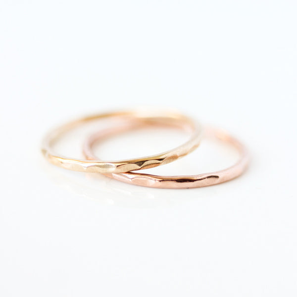 14k gold hammered wedding ring