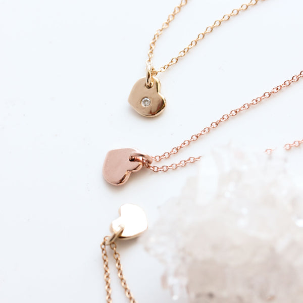Tiny Heart Necklace in 14k Rose Gold - ready to ship