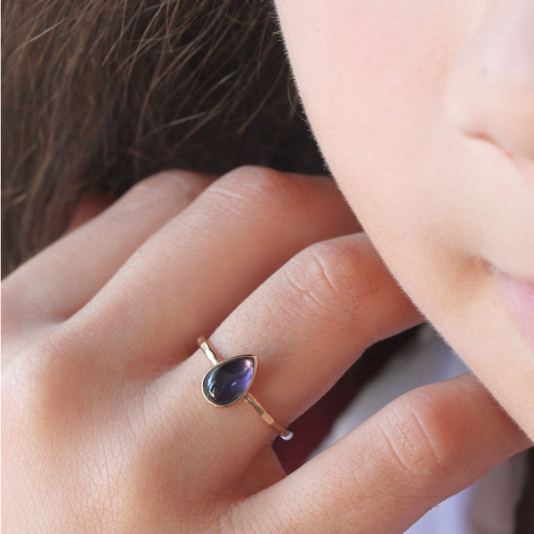 Teardrop Iolite & 14k Gold Ring