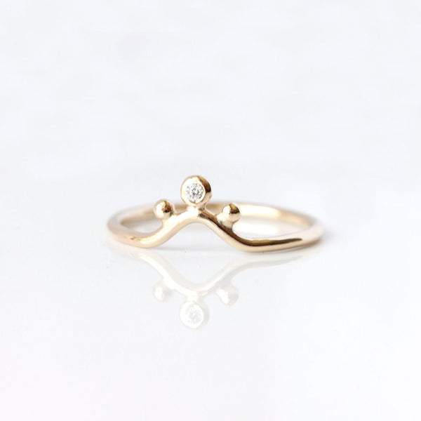 Diamond Crown 14k Gold Ring - The Malika Ring