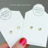 Matte 14k gold pebble stud earrings