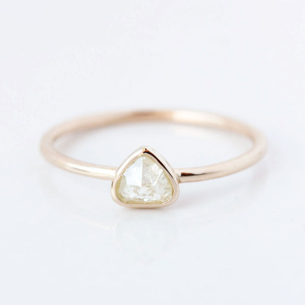 Pear rose cut coloured diamond & 14k gold ring