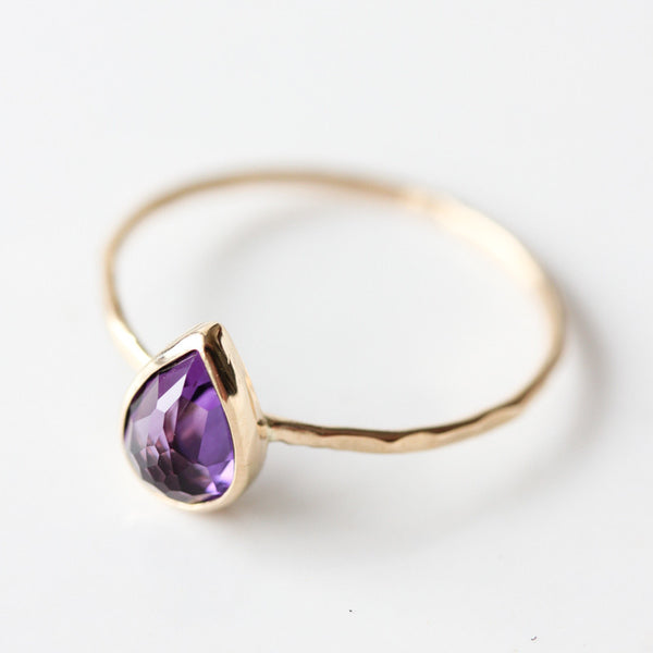Teardrop Amethyst & 14k gold stacking ring