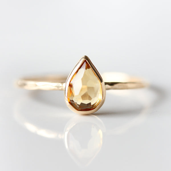 Teardrop Citrine & 14k Gold Ring