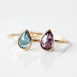Teardrop London Blue Topaz & 14k gold ring