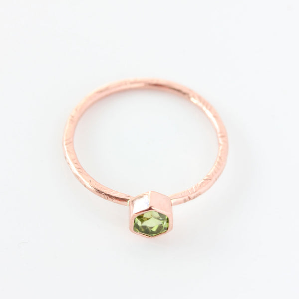 Hexagon Peridot & 14k Gold Ring - The Zinnia Ring