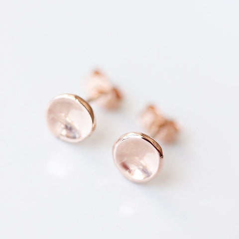 Small 14k rose gold pebble stud earrings