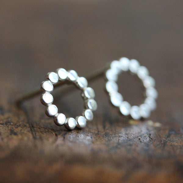 Sterling silver polka dot stud earrings
