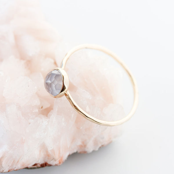 Rose cut Natural Blue Chalcedony & 14k Gold Ring
