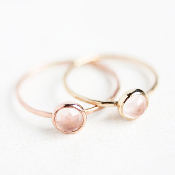 Rose Quartz & 14k Gold Ring