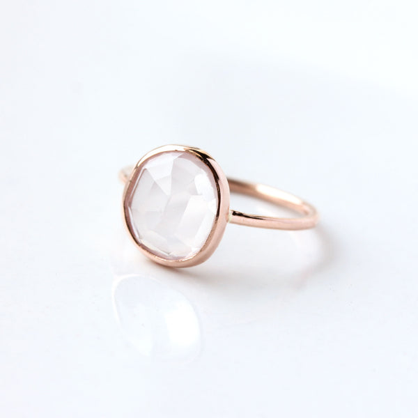 Rose cut Rose Quartz & 14k Gold Solitaire Ring