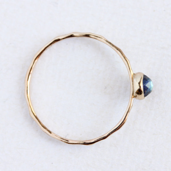 Rose cut labradorite & 14k yellow gold fine stacking ring