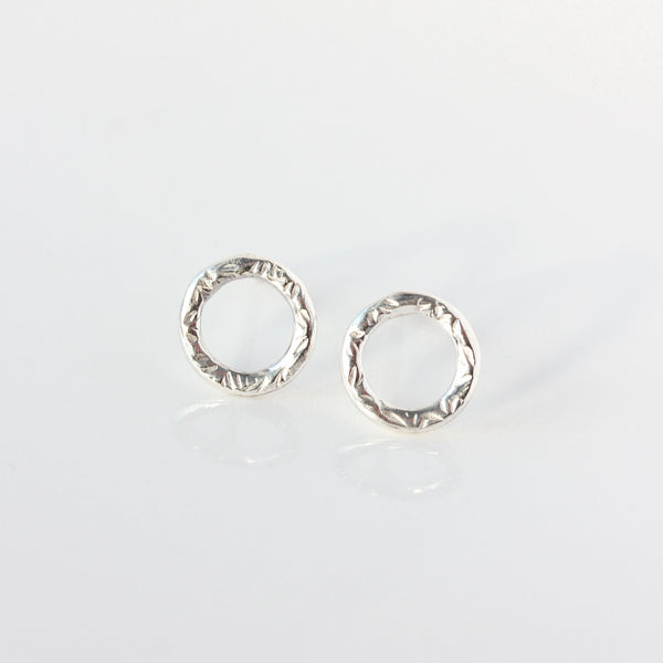 Small sterling silver textured circle or oval earrings - The Dahlia Stud Earrings