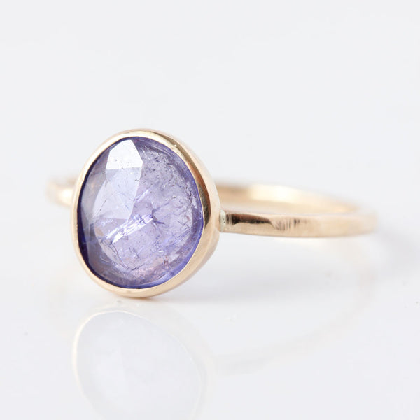 Rose cut Tanzanite & 14k gold ring