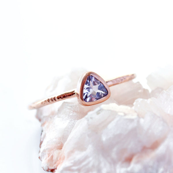 Wildflower Ring - Trillion cut Tanzanite & 14k rose gold