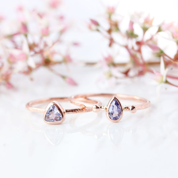 Wildflower Ring - Tiny pear cut Tanzanite & 14k rose gold ring
