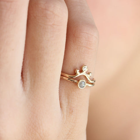 Tiny rose cut coloured diamond & 14k gold ring