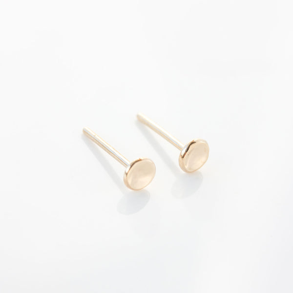 Tiny Pebble Stud Earrings in 14k Gold