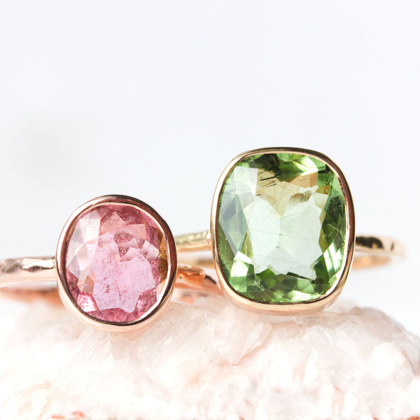 Tourmaline & 14k Gold Wildflower Ring