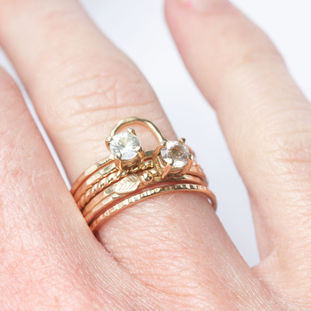 New in store :: 14k Gold Rings with Morganite and White Sapphire ...