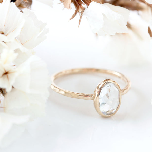 Oval White Topaz & 14k Gold Ring