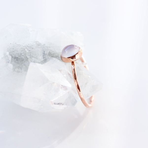 Blue Chalcedony & 14k Rose Gold Ring