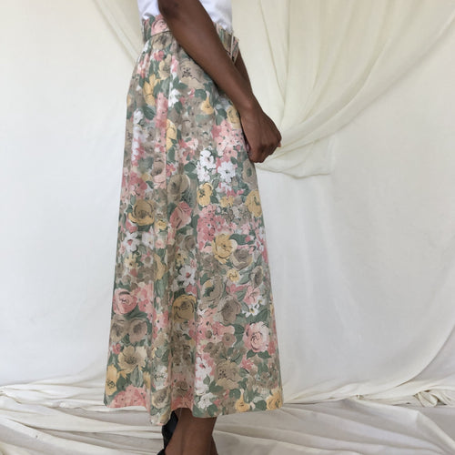 1970s Floral Skirt with Belt