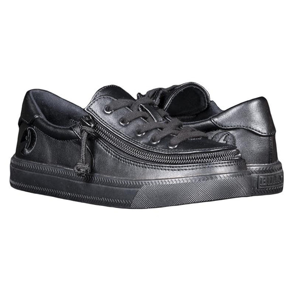 Kid's Black to the Floor Faux Leather BILLY Classic Lace Low