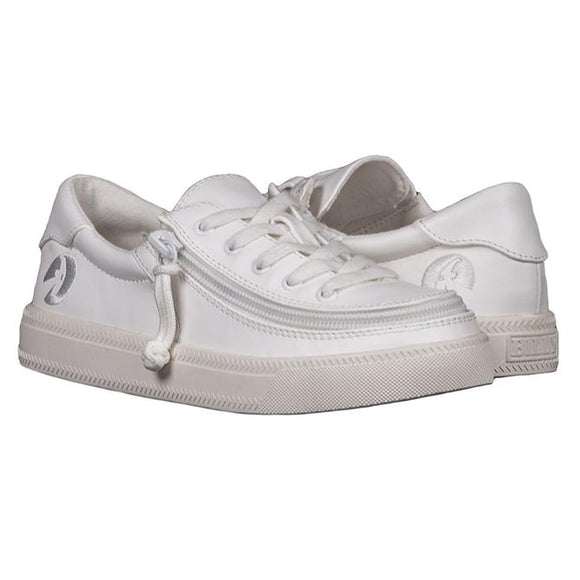 Kid's White Faux Leather Classic Lace Low
