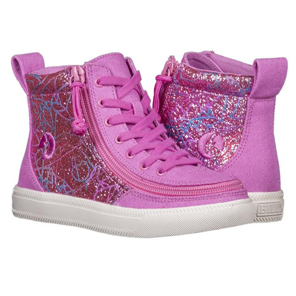 Kid's Pink Printed Sparkle Billy High Top