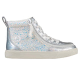 Kid's Unicorn Metallic Glitter / White Printed Faux Leather BILLY Classic Lace High