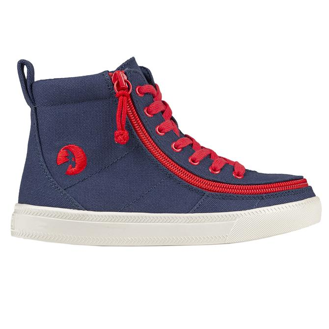 Kid's BILLY Navy-Red / White Canvas Classic Lace High Top