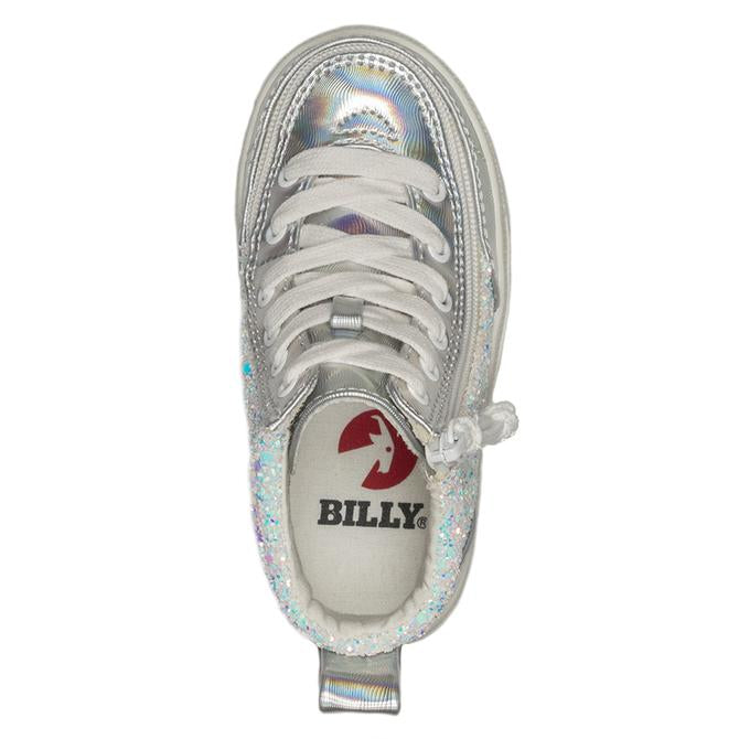 Toddler Unicorn Metallic Glitter / White Printed Faux Leather Billy Classic Lace High Top