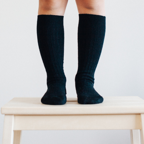 Lamington Merino Knee High socks - Black Rib