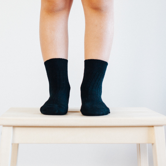 Lamington Merino Crew socks - Black Rib