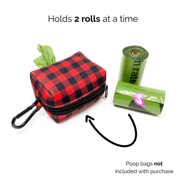Poop bag holder - Red Plaid