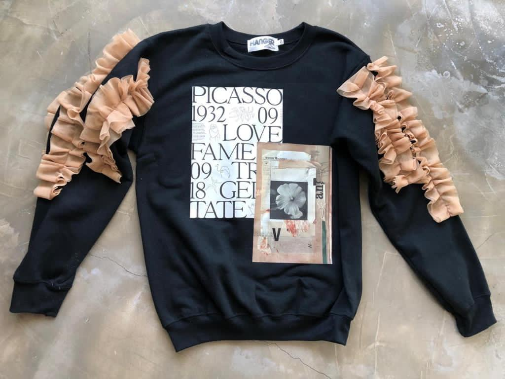 Picasso Black Peachy Lace Sweatshirt