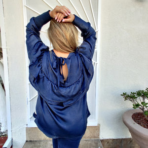 One-of-a-kind Ruffled Metallic Silk Navy Blue Blouse